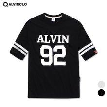 [앨빈클로]AST-3615 스트릿 감성의 ALVIN92 5부 티셔츠/남자 여자 커플룩 루즈핏