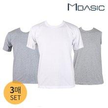 [맨즈베이직] 3매세트/베이직 반팔 라운드 티셔츠/나시 언더셔츠