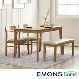 [에몬스홈]헤이 4인 식탁세트(벤치1+의자2)