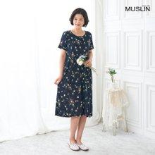 엄마옷 모슬린 반팔 꽃 원피스 홈웨어 HO005002