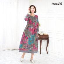 엄마옷 모슬린 페이즐리기모 원피스 홈웨어 HO910304