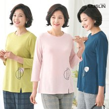 엄마옷 모슬린 슬릿 자수 라운드 티셔츠 TS004007