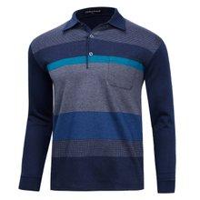 [파파브로]남성 국산 긴팔 패턴 카라 티셔츠 TH-A8-1228-네이비