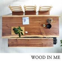 우드인미 소나무통원목 투톤6인용식탁1800B-ap/우드슬랩/원목식탁세트
