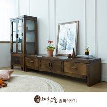 해찬솔 소나무 통원목 전통거실장_1800본장+장식장/원목거실장/원목장식장/TV장식장