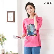 엄마옷 모슬린 프린팅 라운드 티셔츠 TS004105