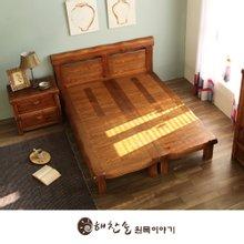 해찬솔 소나무 통원목 평창뜰 침대 (퀸사이즈)/원목침대/평상침대/떡판