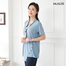 엄마옷 모슬린 사선 버튼 라운드 티셔츠 TS004110