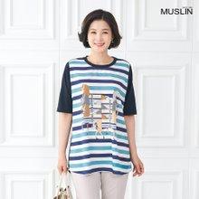 [엄마옷 모슬린] 쿨 프린트 보더라운드 티셔츠 TS005018