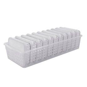 [실리쿡] 냉동실수납용기 납작3호트레이세트 (12종)