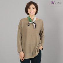 보트넥심플 니트티셔츠-TS8022637-모슬린 엄마옷 마담
