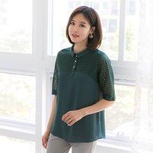 마담4060 엄마옷 코인레이스카라티셔츠 QTE905003