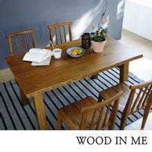 우드인미 애쉬원목 4인용 원목식탁 세트 1500A_T40/의자포함/우드슬랩/물푸레나무/에쉬목