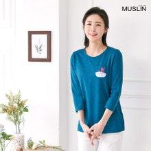 엄마옷 모슬린 체스 데일리 라운드 티셔츠 TS004122