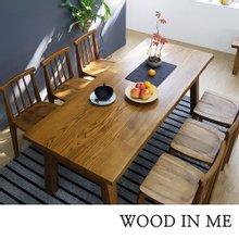 우드인미 애쉬원목 6인용 원목식탁 세트 1800A_T40/의자포함/우드슬랩/물푸레나무/에쉬목