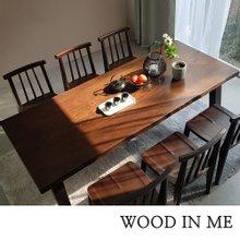 우드인미 애쉬원목 6인용 원목식탁 세트 2000A_T40/의자포함/우드슬랩/물푸레나무/에쉬목