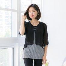 마담4060 엄마옷 리본줄지이중블라우스 QBL905002