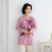 엄마옷 마담4060 꽃수채화라운드티셔츠-ZTE002023-