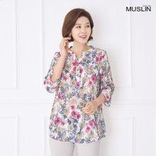 엄마옷 모슬린 오프넥 장미 패턴 티셔츠 TS905023