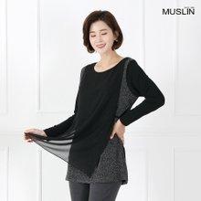 엄마옷 모슬린 쉬폰 배색 레이어드 티셔츠 TS902059
