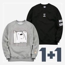 [2종세트]남여공용 맨투맨티셔츠/세트/빅사이즈/기모맨투맨/커플티 ~120size
