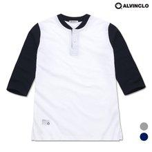 [앨빈클로]AST-3239 7부 배색 헨리넥 티셔츠