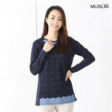 엄마옷 모슬린 레이스 레이어드 티셔츠 TS902025