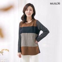 엄마옷 모슬린 조각 배색 포인트 티셔츠 TS910059