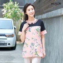엄마옷 모슬린 진주꽃 배색 라운드 티셔츠 TS004126