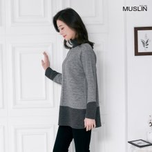 엄마옷 모슬린 투배색 절개 폴라 티셔츠 TP910100