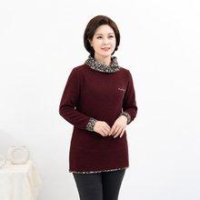 마담4060 엄마옷 배색잔꽃티셔츠 ZTE910152