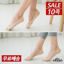 [이반] 여성 전체레이스 & 민무늬 면덧신 10족세트