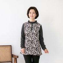 마담4060 엄마옷 패턴의시작프릴티셔츠 QTE901043