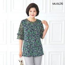 [엄마옷 모슬린] 시원하게 꽃 라운드 티셔츠 TS004233