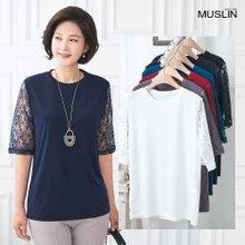 [엄마옷 모슬린] 레이스 꽃 라운드 티셔츠 TS004208