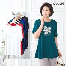 [엄마옷 모슬린] 꽃 반팔 찰랑 라운드 티셔츠 TS004211