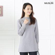 엄마옷 모슬린 진주 레이스 배색티셔츠 TP902002