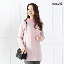 엄마옷 모슬린 블링 플리츠넥 티셔츠 TP902001
