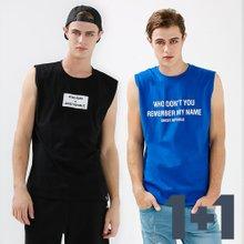 [1+1]남녀공용 캐주얼 민소매 티셔츠 2종세트