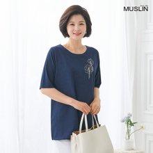 [엄마옷 모슬린] 로즈 체인 라운드 티셔츠 TS004213