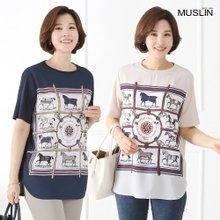[엄마옷 모슬린] 말 프린팅 중세풍 티셔츠 TS904074