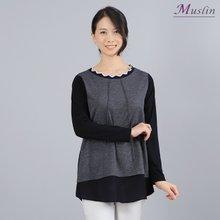 웨이브넥라인 티셔츠 -TS8022638-모슬린 엄마옷 마담