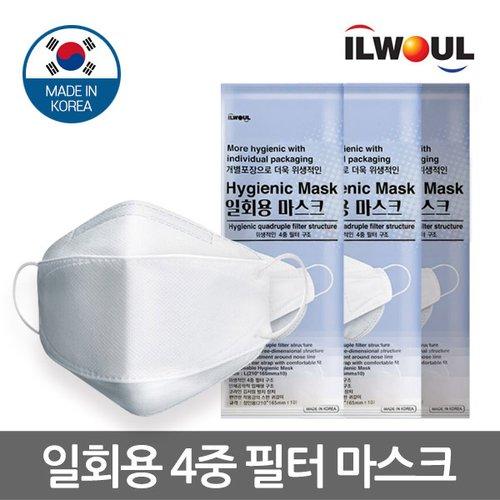 일월 4중필터 일회용 마스크 대형 1매/ 위생적인 개별 포장/ 국내생산/ 접이식 인체공학적 입체형