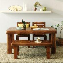 해찬솔 소나무 통원목 평창뜰 4인 원목식탁 세트1500B/의자포함/4인용원목식탁/원목테이블