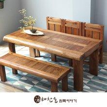해찬솔 소나무 통원목 평창뜰 6인 원목식탁 세트1800B/의자포함/6인용원목식탁/원목테이블