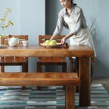 해찬솔 소나무 통원목 평창뜰 6인 원목식탁 세트2000B/의자포함/6인용원목식탁/원목테이블