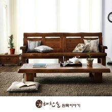 해찬솔 소나무 통원목 평창뜰 4인용소파세트_협탁포함/원목소파/4인용원목소파/평상