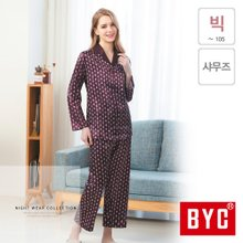 [BYC] 샤무즈 여성 긴팔 잠옷 여자 상하 세트(BWT8726)