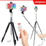[본젠] VT-3418M 프리미엄 스마트폰 셀카봉 삼각대 + VCM-553G 핸드폰 거치대 + S3 블루투스 리모컨 SET