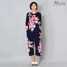 큰꽃나염 상하세트홈웨어 -HS8032209-모슬린 엄마옷
